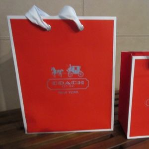 2 Coach Holiday Red EMPTY Gift Bags